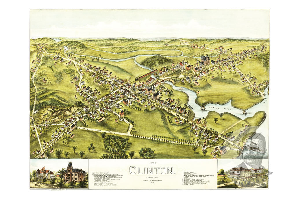 Clinton, CT Historical Map - 1881 - Ted's Vintage Maps