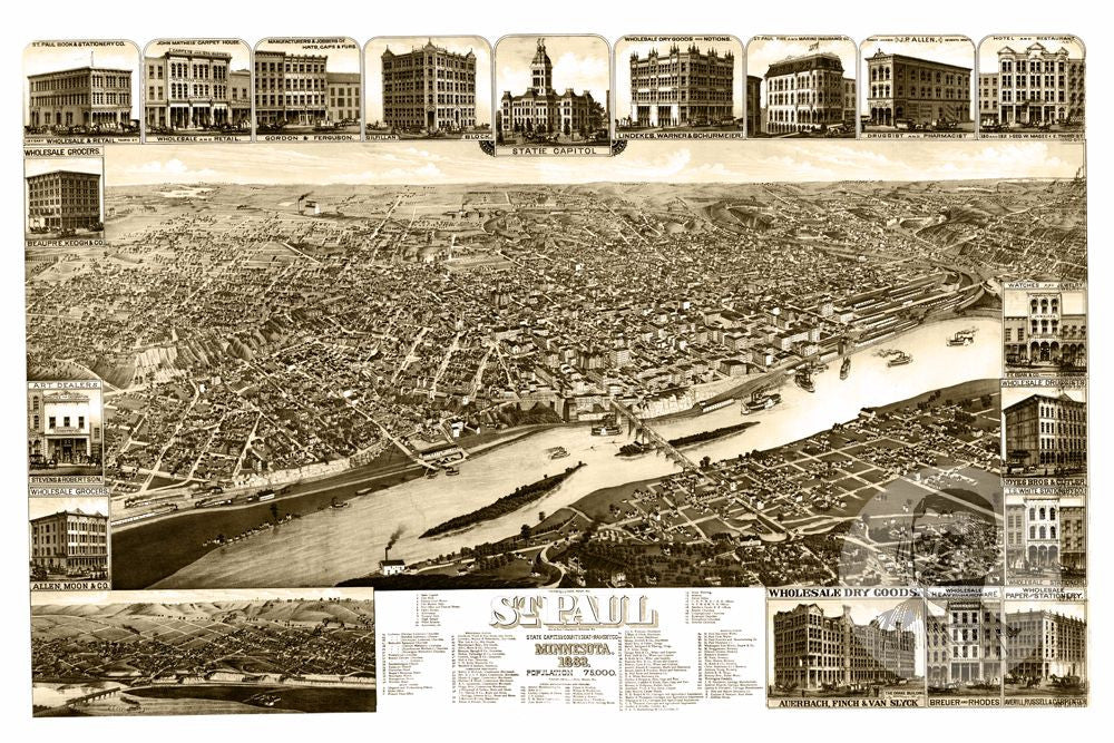 St. Paul, MN Historical Map - 1883