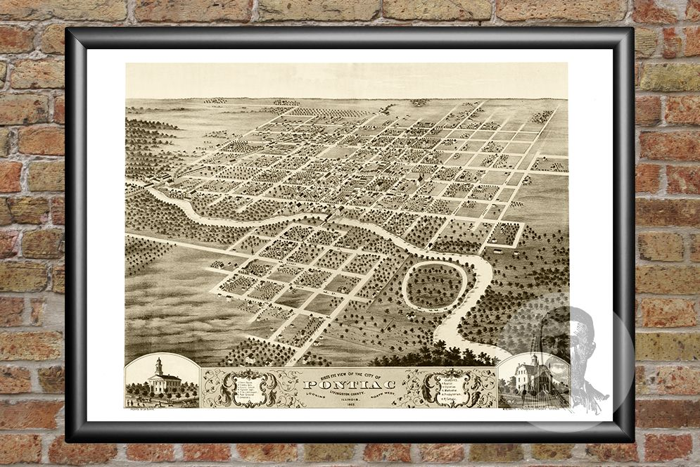 Pontiac, IL Historical Map - 1869