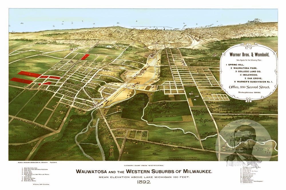 Wauwatosa WI Historical Map 1892 Teds Vintage Art