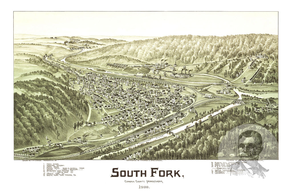 South Fork, PA Historical Map - 1900