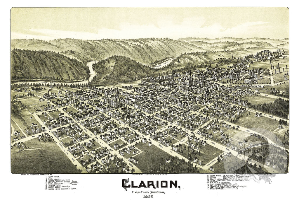 Clarion, PA Historical Map - 1896 - Ted's Vintage Maps