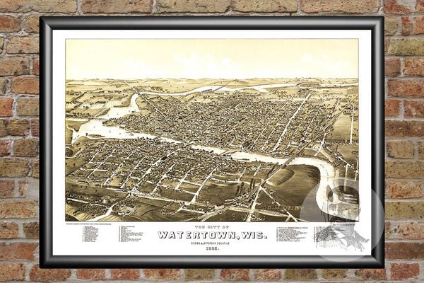 Watertown, WI Historical Map - 1885