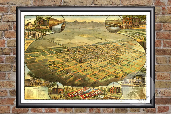 Phoenix, AZ Historical Map - 1885