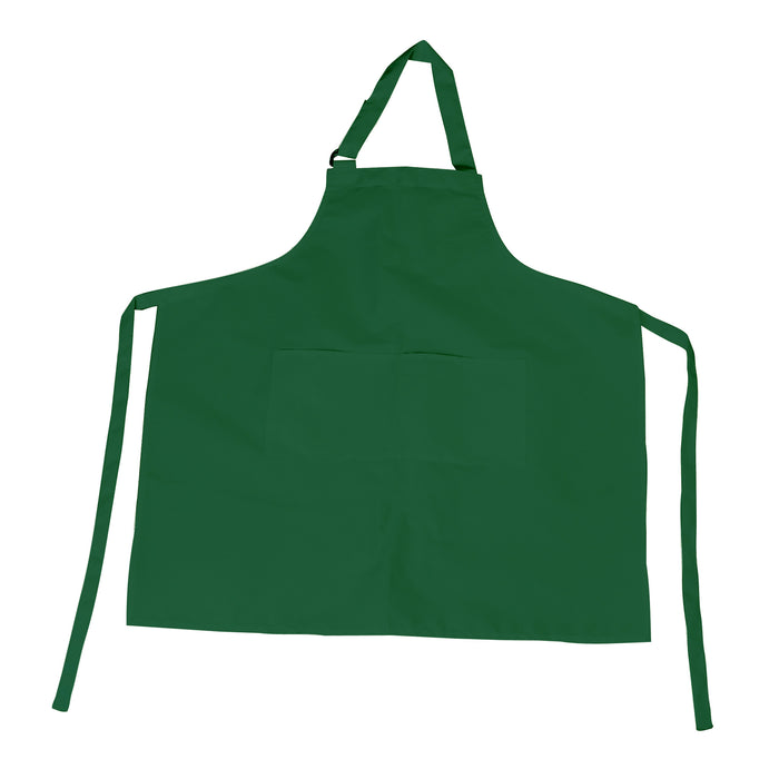 Forest Green Bib Apron with D-Ring Adjustable Neck