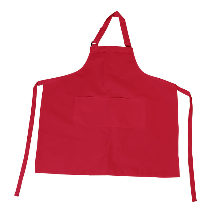 Red Bib Apron with D-Ring Adjustable Neck