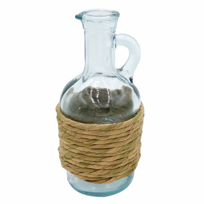 GREEN GLASS JUG OIL and VINEGAR WITH CORK