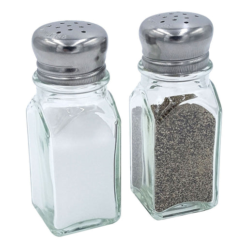 SALT AND PEPPER SQUARE, CHROME TOP, 2 OUNCE