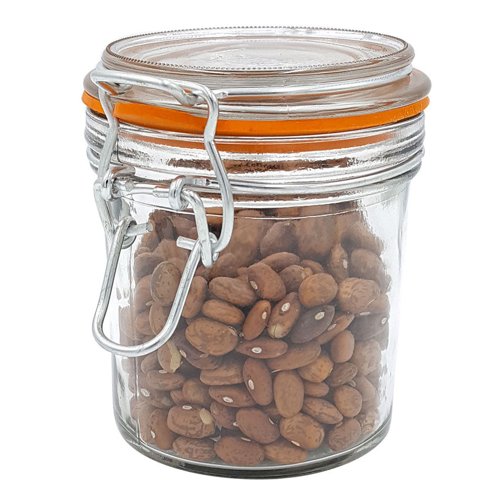 Clamp Lid Glass Jar with Orange Gasket 7 Ounce