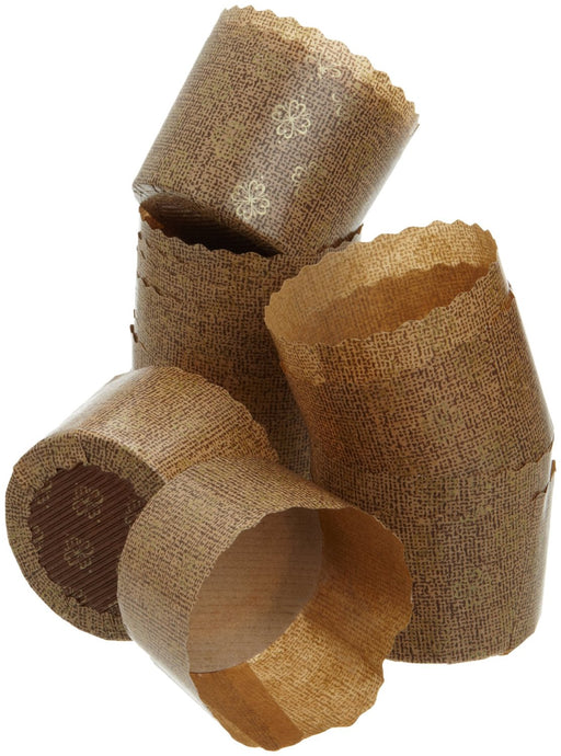 Paper Muffin/Cupcake Molds 25-Pack, Brown/Gold Pattern, 2.75-Inches W x 2-Inches H