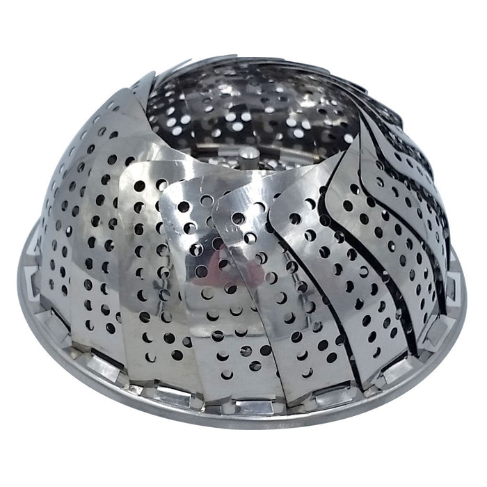 1328 Small Stainless Steel Vegetable Steamer for Pots Expands to fit Shown Closed