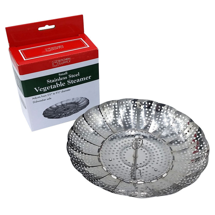 1328 Small Stainless Steel Vegetable Steamer for Pots Expands to fit Shown Open with Box
