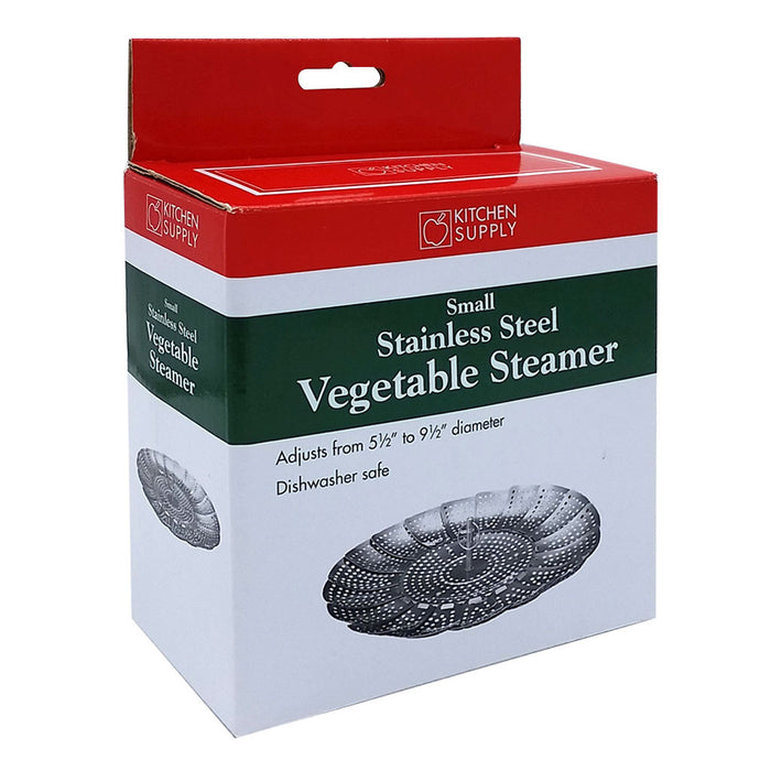 1328 Small Stainless Steel Vegetable Steamer for Pots Expands to fit in Box