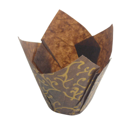 Paper Tulip Baking Cups Brown/Gold Scroll, 25-pack