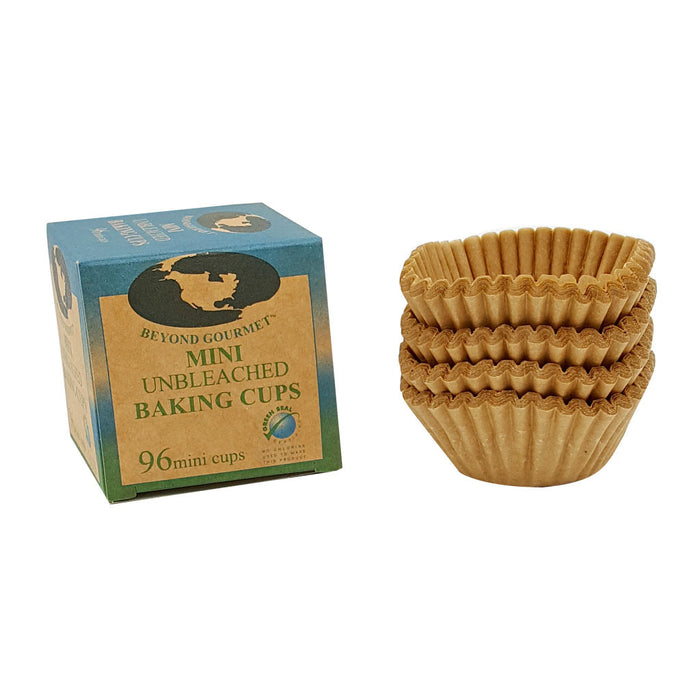 BEYOND GOURMET unbleached, chlorine-free mini muffin cups are the natural choice