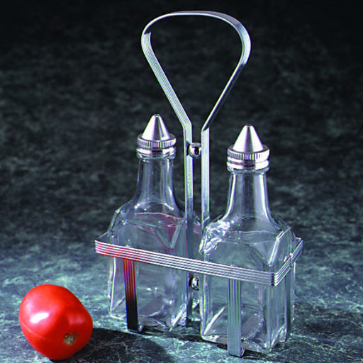 Oil and Vinegar Cruet Set in Holder