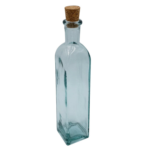 Corked Green Glass Olive Oil Bottle with Tint Square shape 10 ounce