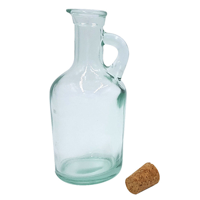 GREEN GLASS JUG OIL and VINEGAR Bottle WITH CORK