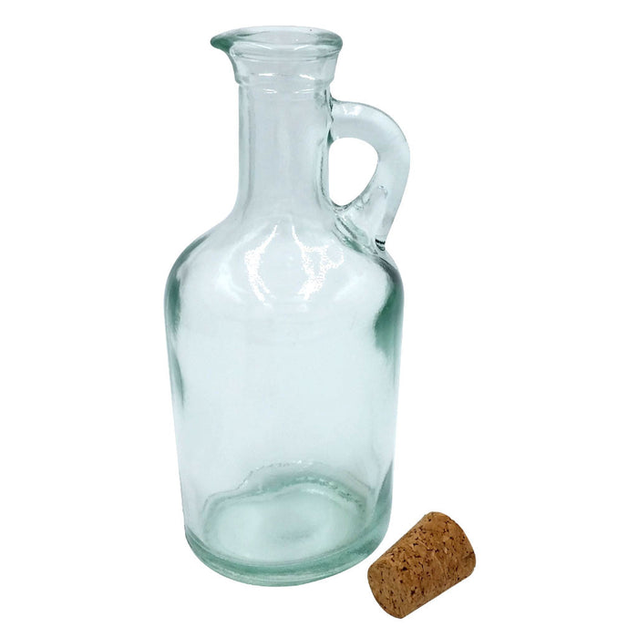 Green Glass Jug Oil and Vinegar Bottle with Removable Cork