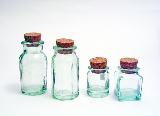 Green Glass Bottle with Cork Stopper, Multi-Pack