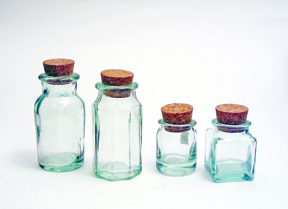 Green Glass Bottle with Cork Stopper, 24 Pack