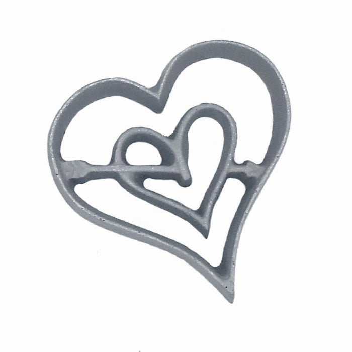 Kitchen Supply 7124 Valentine Heart Rosette Iron, Hand-Cast Aluminum, 3.25 W x 3.25 H x 0.5 D