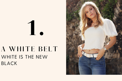 40611 Reign - White Leather Belt with Gold Buckle