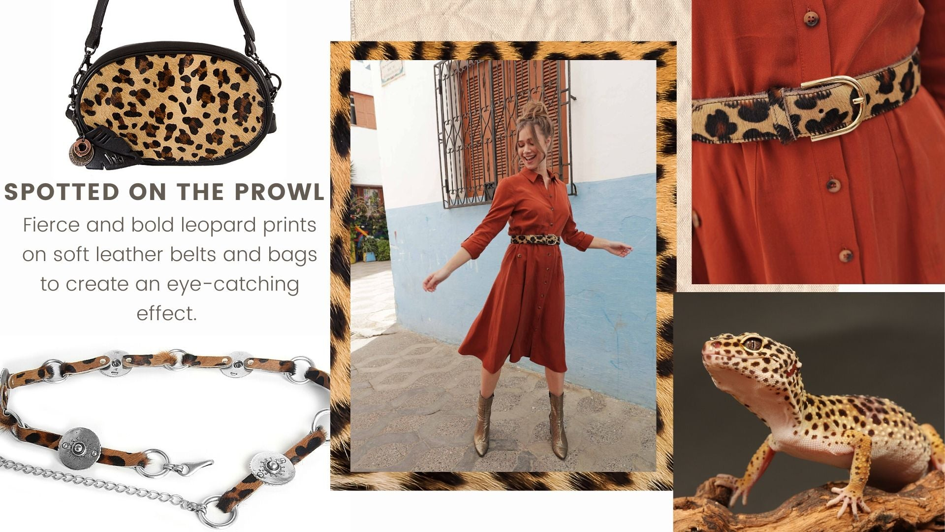 Leopard Print Leather Belts and Bag - Amsterdam Heritage