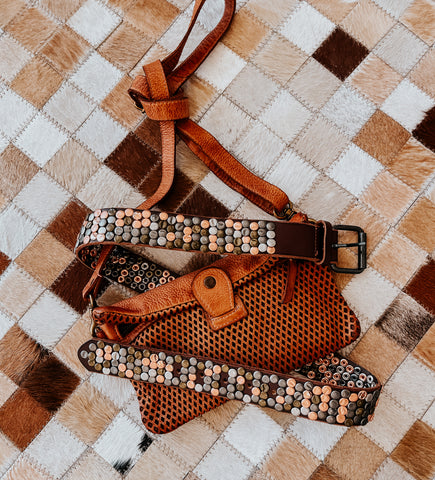 amsterdam heritage leather clutch and studded belt