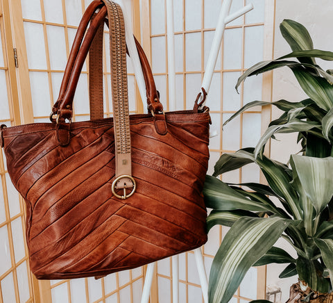 amsterdam heritage leather tote and studded belt