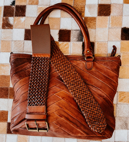 amsterdam heritage leather bag and braided leather belt
