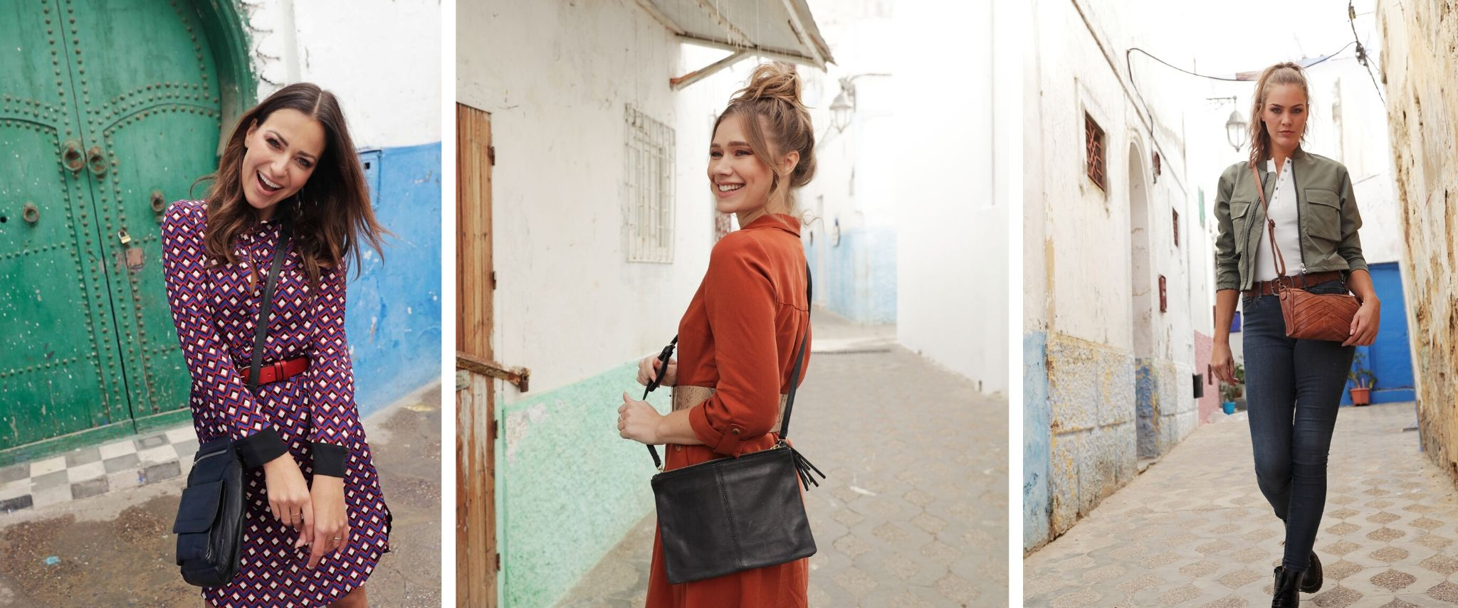 women wearing leather bags