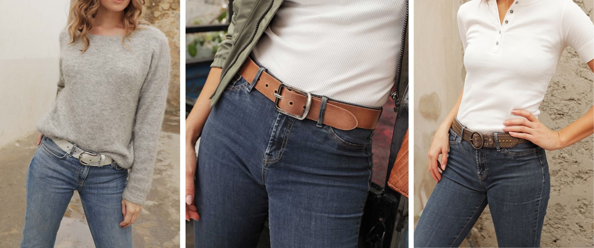 women wearing leather belts