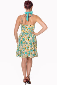 Watching The Skies Halterneck Dress - High Voltage Clothing & Accessories Ltd