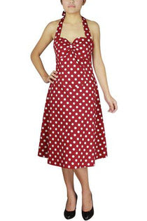 Polka-Dot Halter Dress - High Voltage Clothing & Accessories Ltd