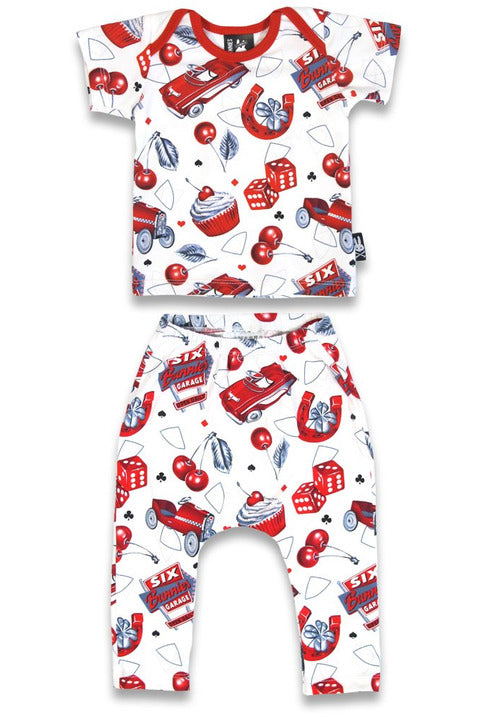 Cherry Garage Pyjama Set - High Voltage Clothing & Accessories Ltd