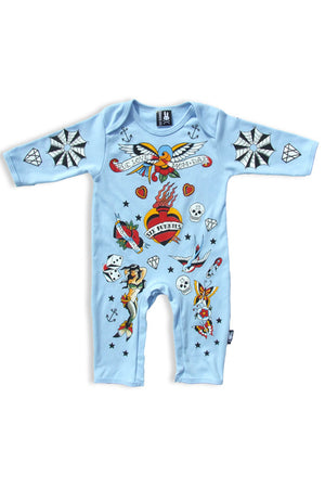 Flash Tattoo Onesie - Blue - High Voltage Clothing & Accessories Ltd