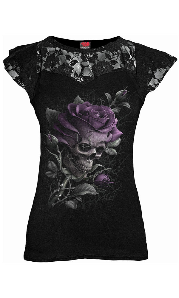 SKULL ROSE - Lace Layered Cap Sleeve Top - High Voltage Clothing & Accessories Ltd