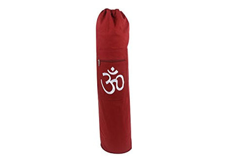 #1 Selling Yoga Mat Bag, Fits All Standard Size Yoga Mats, Two Storage Pockets, Natural Cotton Canvas, Room For Mat to Breathe Extra-wide, Maroon-Drawstring Bag with Hand-Embroidered OM (Chant) Symbol in White by Yogavni(TM)