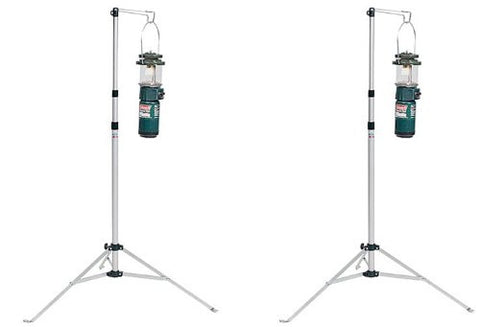 (2) COLEMAN Multi-Purpose Durable Aluminum Camping Lantern Stands w/ Carry Case