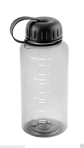 1 Liter Wide Mouth Water Bottle Smoke Color BPA Free Camping Hiking Survival