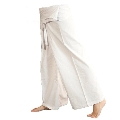 """Clickthai"" ""Best Seller"" 100% Heavy Cotton Thai Fisherman Pants Yoga Pregnancy Pants (Cream White).. Free 1 Gift Wallet..!!."