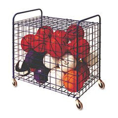 '- Lockable Ball Storage Cart, 24-Ball Capacity, 37w x 22d x 20h, Black
