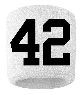 #42 Embroidered/Stitched Sweatband Wristband WHITE Sweat Band w/ BLACK Number (2 Pack)