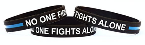 1 No One Fights Alone Wristband Bracelet with Thin Blue Line