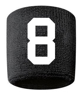 #8 Embroidered/Stitched Sweatband Wristband BLACK Sweat Band w/ WHITE Number (2 Pack)