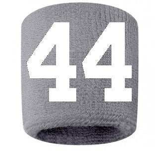 #44 Embroidered/Stitched Sweatband Wristband GRAY Sweat Band w/ WHITE Number (2 Pack)