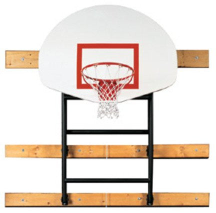 "109"" - 132"" Extension Wall-Braced Fold Up Basketball Backstop with Manual Winch from Spalding"