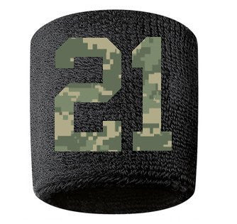 #21 Embroidered/Stitched Sweatband Wristband BLACK Sweat Band w/ CAMOUFLAGE CAMO Number (2 Pack)