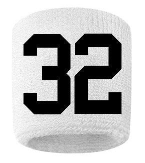 #32 Embroidered/Stitched Sweatband Wristband WHITE Sweat Band w/ BLACK Number (2 Pack)